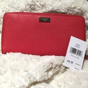🌶NEW Kate Spade Neda Laurel Way Wallet Red Hot🌶